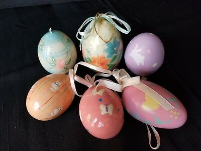 Vintage Set 6 Painted Plastic Easter Egg Ornaments Pastels 2""