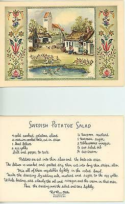 Vintage Farm Cottage House Garden Geese Swedish Potato Salad Recipe Card Print