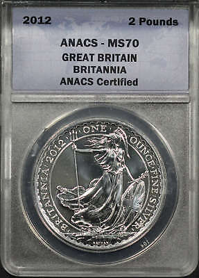 2012 Great Britain 2 Pounds Silver Britannia ANACS MS-70 -176048