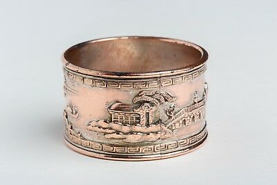 Vintage cast copper silver washed napkin ring