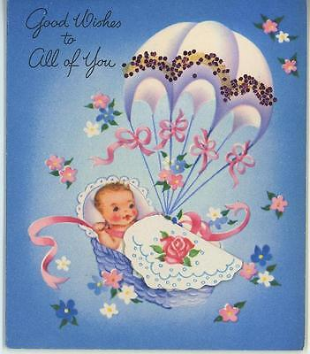 Vintage Baby Infant Rose Flowers Hot Air Balloon Lithograph Old Card Art Print