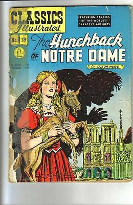 Classics Illustrated #18  HUNCHBACK of NOTRE DAME Victor Hugo. RARE 1/- UK 1952!