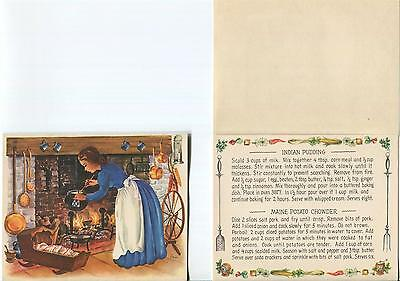 Vintage Recipe Indian Pudding Potato Chowder Cook 1 Autumn Dried Roses Art Card
