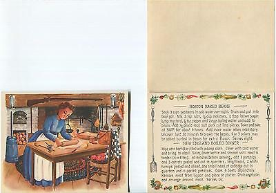 Vintage Boston Baked Beans New England Dinner Recipe 1 Autumn Flowers Note Card