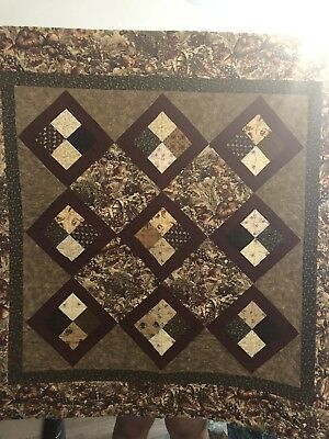Gorgeous Autumnal Handmade Quilt W/Leave Quilting. Pumpkins Grapes Apples Corn