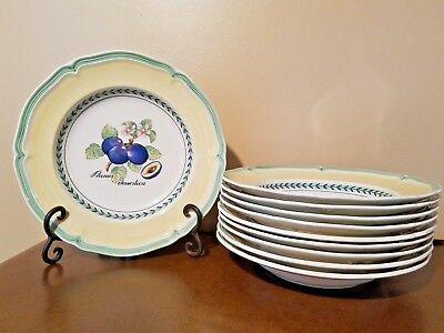 "Villeroy & Boch French Garden Valence 9"" Rim Soup Bowls Set Of Ten Excellent"