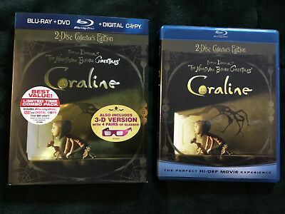 Coraline Blu-ray Collectors Edition With 3D Glasses and Slipcover