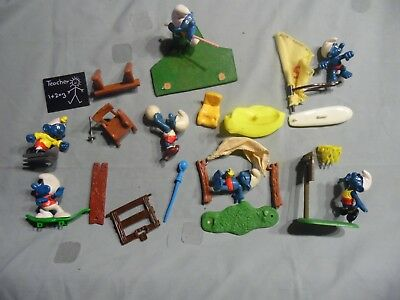 Lot (7) Damaged Super Smurfs And Accessories + Misc Pieces