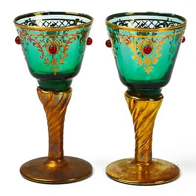 Antique Blue & Gold w/ Ruby Gems Decorated Glass Cordial Stemware Goblet Pair