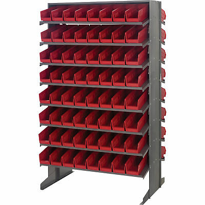 Quantum Storage Double Sided Rack w/128 Bins 24in x 36in x 60in Size Red
