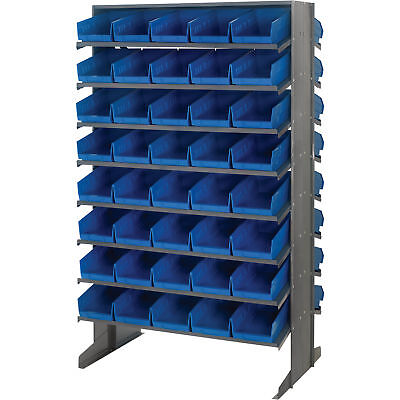 Quantum Storage Double Sided Rack w/80 Bins 24in x 36in x 60in Size Blue