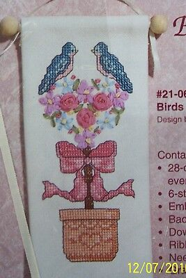 Janlynn Ribbon Embroidery Birds in Topiary #21-06 Banner Pink Ribbons Blue Birds