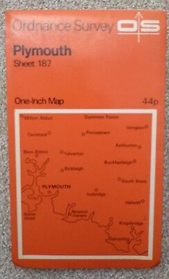 """VINTAGE ORDNANCE SURVEY 1"""" MAP of PLYMOUTH - 1972 -Sheet 187"""