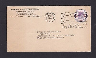 Hong Kong China 1952 Airmail Cover to MIT USA with $2 Postage on US Stationery