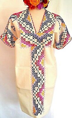 Hand Embroidered Mayan Huipil Traditional Mexico Mini Dress Cross stitch 2XL NWT