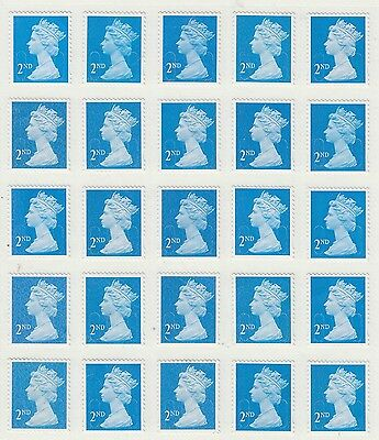 25 unfranked 2nd class stamps off paper with gum ( H ) FV £14.50