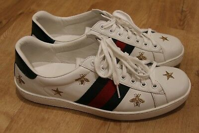 5c4e2c243 GUCCI $730 White Leather Bees And Stars Embroidered Ace Sneaker