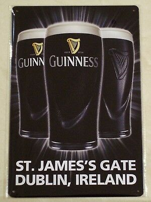 GUINNESS Beer - St. James's Gate Dublin Ireland - Novelty Metal Sign 30cm X 20cm