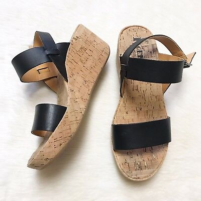 7726f34a7df Korks By Kork Ease Womens Size 40.5 US 9 Cork Wedge Black Strapped Sandals