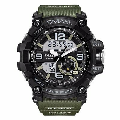 Men Military Sport LED Analog Digital Tactical Date Alarm Waterproof Wrist Watch