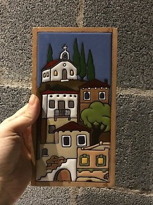 """Vintage Ceramic Clay Art Tile - 4"""" by 9"""" old Italy City View"""