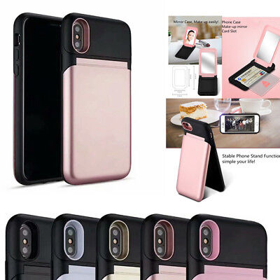 Cover For iPhone 8 7 6 Plus Armor Make Up Hard PC Mirror Phone Case Card Holder