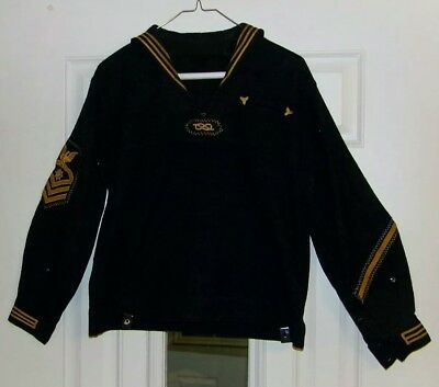 Vintage Us Navy Chief Quartermaster  Jumper Top Early Gold Patches Pre Ww 1