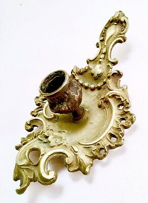 Antique Rococo Chamberstick Candleholders Cast Gold Metal Brass