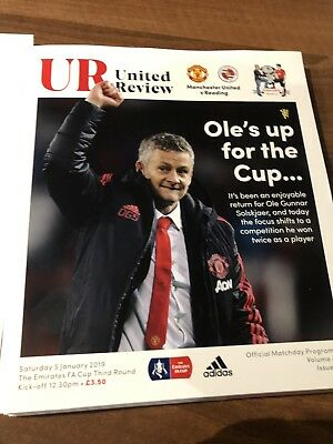 Manchester United vs Reading FA Cup 3rd Round 5/1/19 Programme & Team Sheet