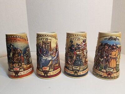 "Miller High Life Beer Steins ""Birth of a Nation"" Set of 4 1776-1804"