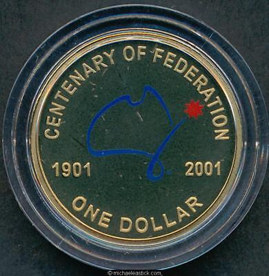2001 Centenary of Federation Coloured $1 Proof Coin In Capsule