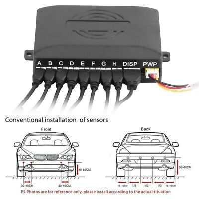 Car Reverse Radar Buzzer LED Parking Detector Monitor System with 8 Radar Sensor