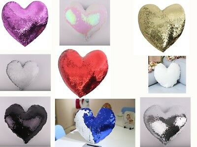 HEART SHAPE SUBLIMATION Blank Reversible Mermaid Pillow Sequin Cover  Glitter DIY