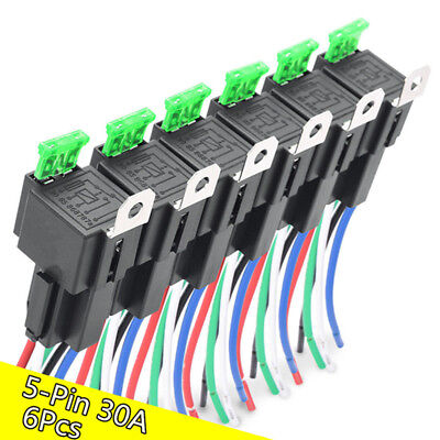 6pcs Car Relay Switch Harness Set 12V 5PIN SPDT 30AMP Fuse Holder 14AWG Hot Wire