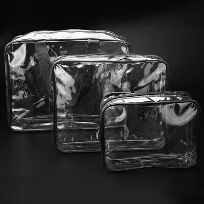3 PCS Clear PVC Travel Wash Bag Cosmetic Makeup Toiletry Holder Pouch Set Kit