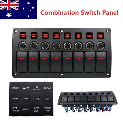 Waterproof 8 Gang LED Rocker Car Boat Marine Combination Switch Panel DC12V/24V