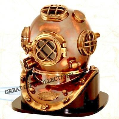 Replica 1952 Diving Divers U.s.navy Mark V Helmet With Wooden Rosewood Base