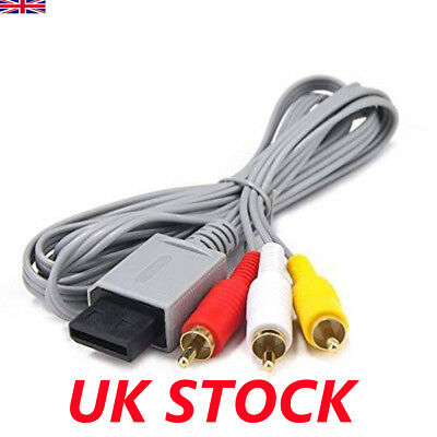 Audio Video AV Composite 3RCA Cable TV Lead Wire For Nintendo Wii Game UK STOCK