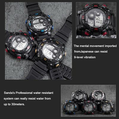 Sanda 323 Fashion Sport Watch 30m Waterproof LED Digital Wrist Watch For Men TM