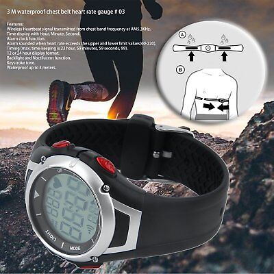 3 Meter Waterproof Heart Rate Monitor Sport Watch Noctilucent Back-light Alarm T
