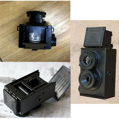 589B Fashion Black DIY Twin Lens Reflex Lomo Film Camera Kit Classic Play Toy