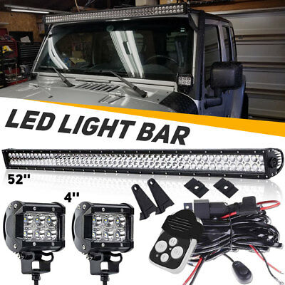 """Dual-Row 52Inch 300W Led Light Bar Combo +4"""" Pods Offroad 4Wd Truck Atv Car Boat"""