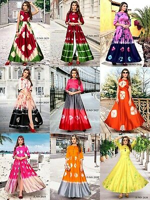 FULL STITCHED Gown Designer Long Anarkali Kurti Style Suit Indian Ethnic Dress