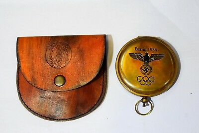 Solid Brass Push Button Compass Antique 3'' Nautical Gift With Leather Case