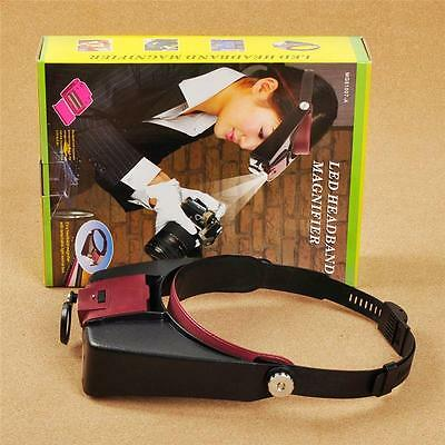 10X Lighted Magnifying Glass Headset LED Light Head Headband Magnifier Loupe AU