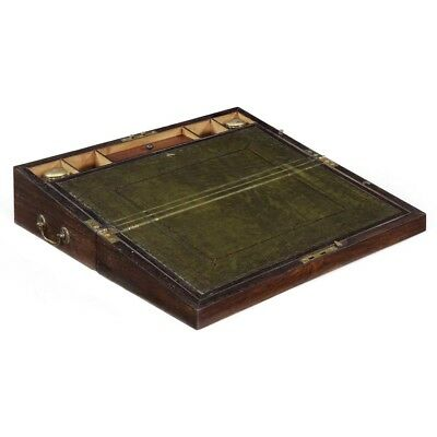 English Regency Rosewood Antique Writing Desk Slope Box w/ Inkwells, c. 1820-35