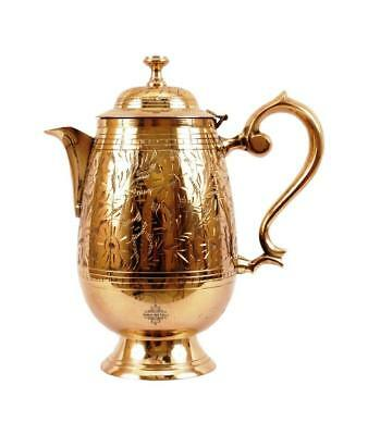Brass Embossed Design Mughlai Style Jug Pitcher With Lid 1400 ml Height 10 Inch