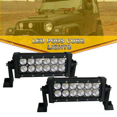 2x7Inch Flood LED Work Light Bar Front Bullbar Driving Lamp For Truck Boat Dodge
