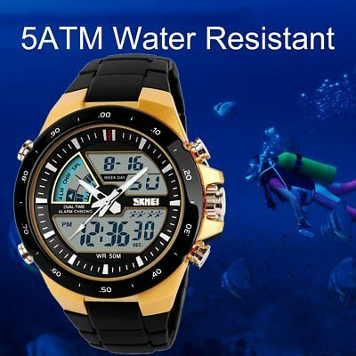 SKMEI 1016 Pointer Digital LED Dual Display Men Watch Waterproof Wristwatch TM