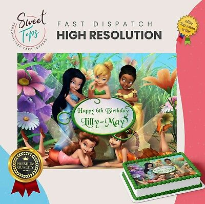 Disney Tinkerbell Rectangle Edible Cake Topper Decoration Personalised